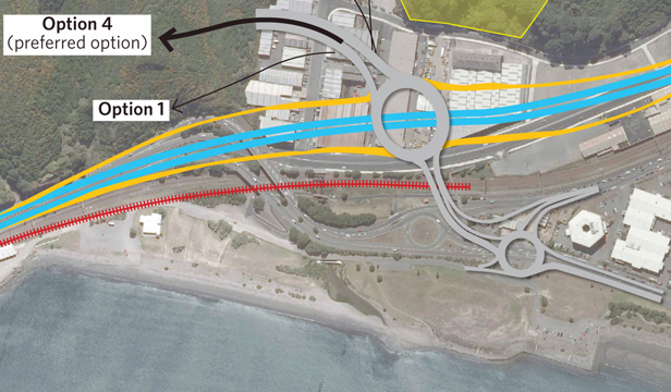 180214 Hutt News.  Proposed raised interchange at Petone, to be built as part of the Petone-Grenada Link Rd.